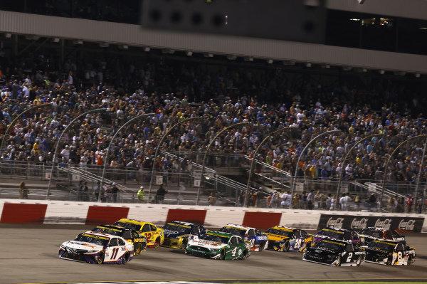 #11: Denny Hamlin, Joe Gibbs Racing, Toyota Camry FedEx Ground, #4: Kevin Harvick, Stewart-Haas Racing, Ford Mustang Hunt Brothers Pizza
