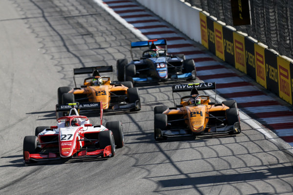 SOCHI AUTODROM, RUSSIAN FEDERATION - SEPTEMBER 29: Jehan Daruvala (IND, PREMA Racing), Alessio Deledda (ITA, Campos Racing) and Alexander Peroni (AUS, Campos Racing) during the Sochi at Sochi Autodrom on September 29, 2019 in Sochi Autodrom, Russian Federation. (Photo by Joe Portlock / LAT Images / FIA F3 Championship)