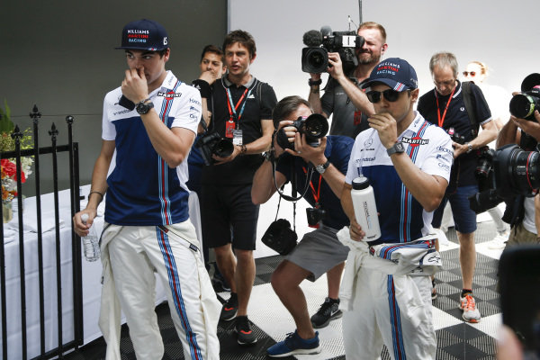 Lance Stroll (CDN) Williams and Felipe Massa (BRA) Williams on the drivers parade at Formula One World Championship, Rd1, Australian Grand Prix, Race, Albert Park, Melbourne, Australia, Sunday 26 March 2017.