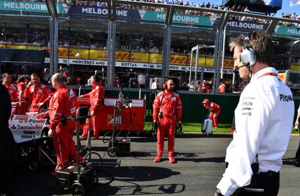 James Allison (GBR) Mercedes AMG F1 Technical Director look at Ferrari on the grid at Formula One World Championship, Rd1, Australian Grand Prix, Race, Albert Park, Melbourne, Australia, Sunday 26 March 2017. BEST IMAGE
