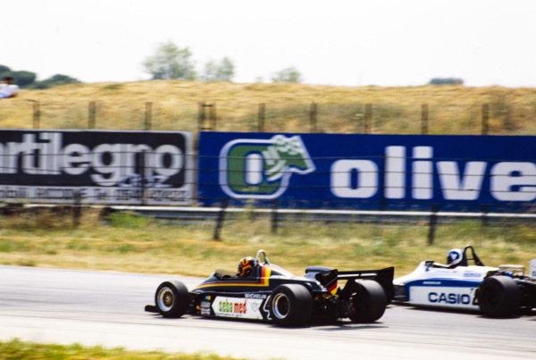 Stefan Bellof, Maurer MM83 BMW/Heidegger, battles with Jonathan Palmer, Ralt RH6/83H Mugen Honda.