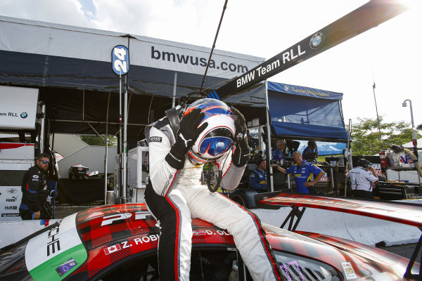 #9 PFAFF Motorsports Porsche 911 GT3 R, GTD: Dennis Olsen, Zacharie Robichon, Celebrate Race Win in GTD
