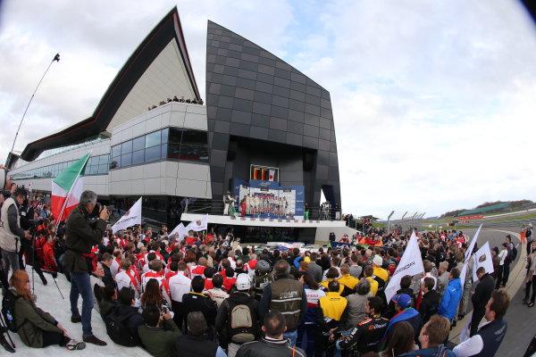 2015 FIA World Endurance Championship, Silverstone, England. 10th-12th April 2015 P1 Podium, Marcel Fassler (CHE) / Andre Lotterer (DEU) / Benoit Treluyer (FRA) Audi R18 e-tron quattro wins  World copyright. Ebrey/LAT Photographic