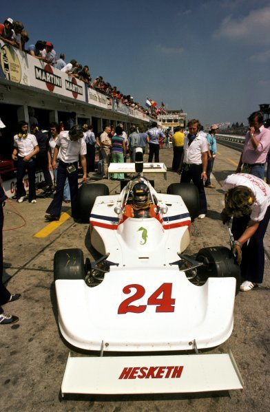 James Hunt (GBR) Hesketh 308 retired from the race on the eleventh lap with a broken rear hub. German Grand Prix, Nurburgring, 3 August 1975. BEST IMAGE