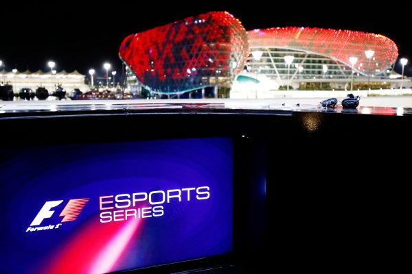Yas Marina Circuit, Abu Dhabi, United Arab Emirates. Friday 24 November 2017. F1 Esprt logo on a screen with the circuit buildings in the background. World Copyright: Andy Hone/LAT Images  ref: Digital Image _ONY0979