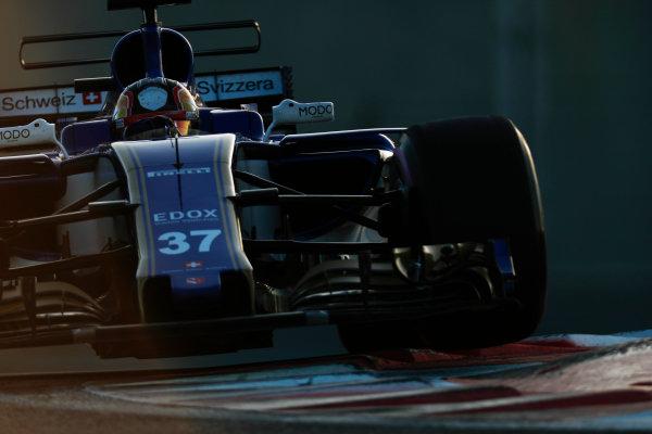 Yas Marina Circuit, Abu Dhabi, United Arab Emirates. Wednesday 29 November 2017. Charles Leclerc, Sauber C36 Ferrari.  World Copyright: Zak Mauger/LAT Images  ref: Digital Image _56I6806