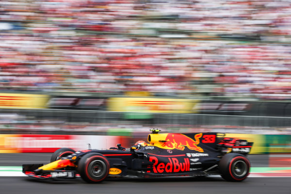 Autodromo Hermanos Rodriguez, Mexico City, Mexico. Sunday 29 October 2017. Max Verstappen, Red Bull Racing RB13 TAG Heuer. World Copyright: Charles Coates/LAT Images  ref: Digital Image DJ5R6811