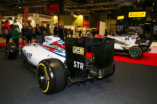 Autosport International Exhibition. National Exhibition Centre, Birmingham, UK. Saturday 13th January 2018. A Williams and Mercedes on display.World Copyright: Jakob Ebrey/LAT Images Ref: JR2_4381