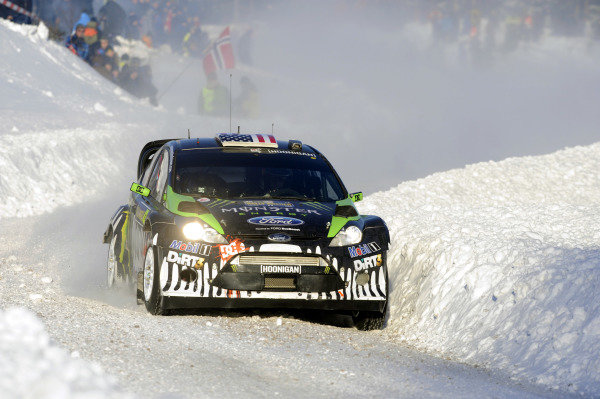 Ken Block (USA) Ford Fiesta RS WRC on stage 9. World Rally Championship, Rd1, Rally Sweden, Day Two, Karlstad, Sweden. 12 February 2011.