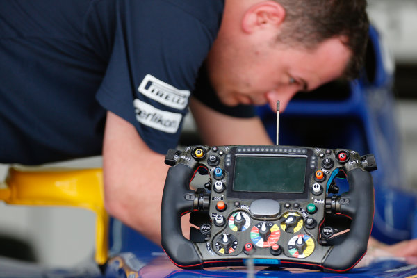 Sepang International Circuit, Sepang, Kuala Lumpur, Malaysia. Thursday 26 March 2015. Sauber steering wheel in the garage. World Copyright: Alastair Staley/LAT Photographic. ref: Digital Image _79P0647