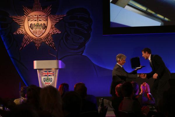 2014 BRDC Annual Awards The Grand Connaught Rooms, London, UK Monday 8 December 2014. World Endurance Champion Anthony Davidson receives his award from Damon Hill. World Copyright: Ebrey/LAT Photographic. ref: Digital Image Davidson--04