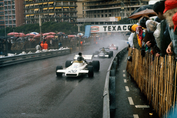 1972 Monaco Grand Prix.  Monte Carlo, Monaco. 11-14th May 1972.  Graham Hill, Brabham BT37 Ford, leads Carlos Pace, March 711 Ford, and Niki Lauda, March 721X Ford.  Ref: 72MON43. World Copyright: LAT Photographic