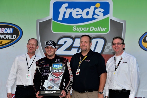 October 18-19, 2013, Talladega, Alabama USA Johnny Sauter in Victory Lane © 2013, Brian Czobat LAT Photo USA