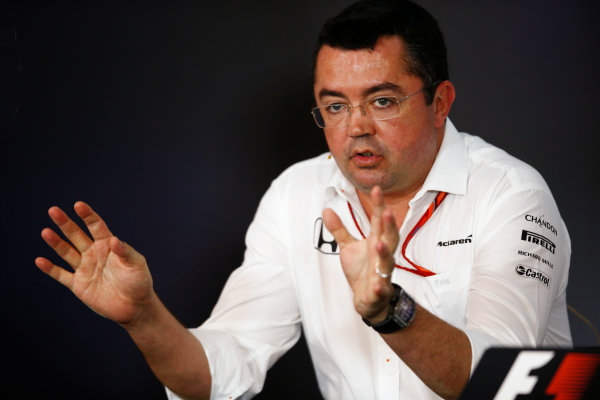 Red Bull Ring, Spielberg, Austria. Friday 07 July 2017. Eric Boullier, Racing Director, McLaren, in the Friday press conference. World Copyright: Andy Hone/LAT Images ref: Digital Image _ONY9978