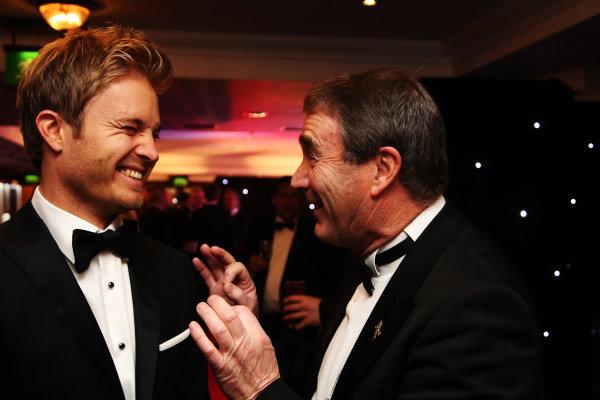 2016 Autosport Awards. Grosvenor House Hotel, Park Lane, London. Sunday 4 December 2016.  Nico Rosberg, Mercedes AMG in conversation with Nigel Mansell.  World Copyright: /LAT Photographic. ref: Digital Image JL3_1966