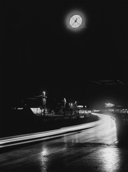 Le Mans, France. 23rd - 24th June 1951 The clock shows the time at night in the rain, atmosphere World Copyright: LAT Photographic Ref: B/WPRINT.