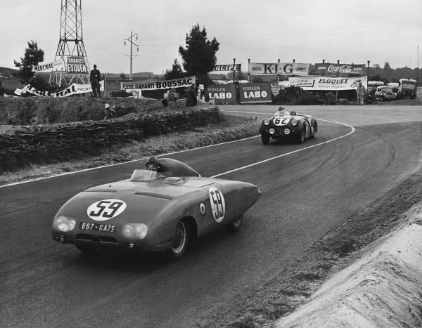 Le Mans, France. 12th - 13th June 1954 Rene Cotton/Andre Beaulieu (Panhard X88), 17th position, leads Edgar B. Wadsworth/John Brown (Triumph TR2), 15th position, action. World Copyright: LAT Photographic Ref: Autocar Used Pic 18th June 1954 Pg 869.
