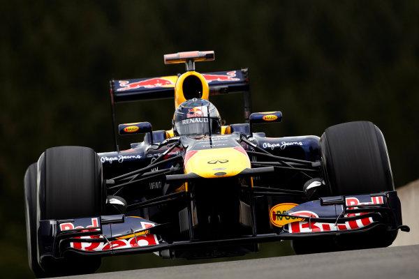 Spa-Francorchamps, Spa, Belgium 26th August 2011. Sebastian Vettel, Red Bull Racing RB7 Renault. Action.  World Copyright: Steve Etherington/LAT Photographic ref: Digital Image SNE20809