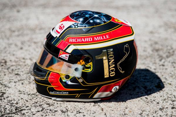 2017 FIA Formula 2 Round 3. Monte Carlo, Monaco. Wednesday 24 May 2017. A one off helmet for Charles Leclerc (MCO, PREMA Racing). Photo: Zak Mauger/FIA Formula 2. ref: Digital Image _54I4781