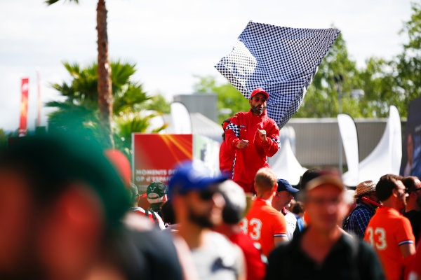 Circuit de Catalunya, Barcelona, Spain. Sunday 14 May 2017. Fans of Max Verstappen, Red Bull. World Copyright: Andy Hone/LAT Images ref: Digital Image _ONY5840