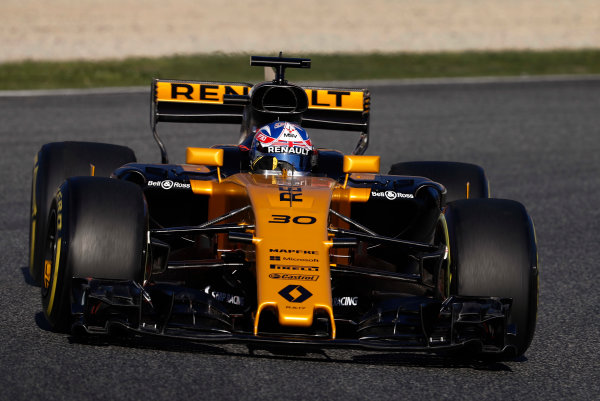 Circuit de Barcelona Catalunya, Barcelona, Spain. Tuesday 07 March 2017. Jolyon Palmer, Renault R.S.17. World Copyright: Glenn Dunbar/LAT Images ref: Digital Image _31I5213