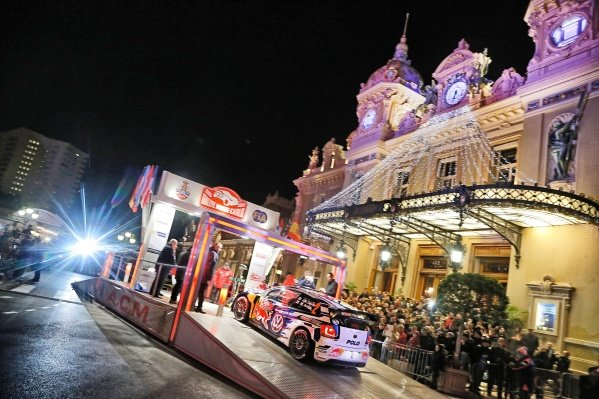 www.sutton-images.com -  Jari-Matti Latvala (FIN) / Miikka Anttila (FIN), Volkswagen Polo R WRC at the start ramp at the FIA World Rally Championship, Rd1, Rally Monte Carlo, Opening Stages, Monte Carlo, 22 January 2015. Photo Sutton Images