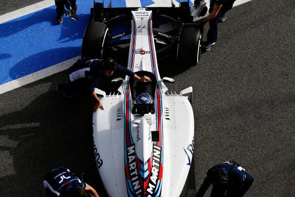 Circuit de Catalunya, Barcelona, Spain Monday 22 February 2016. Valtteri Bottas, Williams FW38 Mercedes, gets pushed back into the garage. World Copyright: Sam Bloxham/LAT Photographic ref: Digital Image _SBL4986