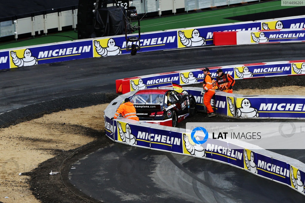 2015 Race Of Champions Olympic Stadium, London, UK Saturday 21 November 2015 Pascal Wehrlein (GER) crashes in the Euro Nascar Copyright Free FOR EDITORIAL USE ONLY. Mandatory Credit: 'IMP'