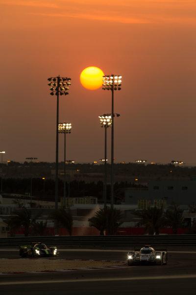 2015 FIA World Endurance Championship Bahrain 6-Hours Bahrain International Circuit, Bahrain Saturday 21 November 2015. Lucas Di Grassi, Lo?c Duval, Oliver Jarvis (#8 LMP1 Audi Sport Team Joest Audi R18 e-tron quattro) leads Simon Trummer, Pierre Kaffer (#4 LMP1 ByKolles Racing CLM P1/01 AER). World Copyright: Sam Bloxham/LAT Photographic ref: Digital Image _SBL5263
