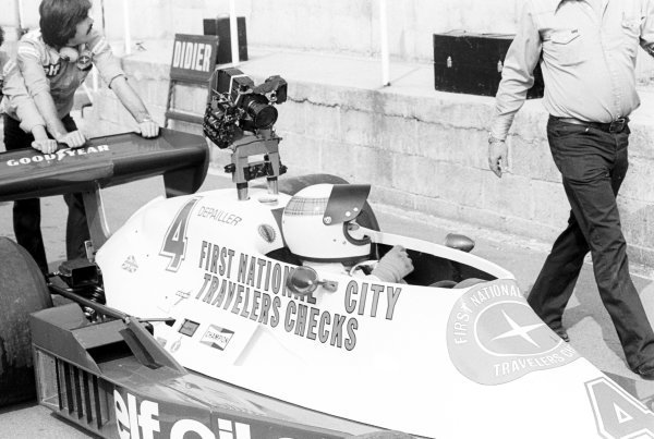 Jackie Stewart (GBR) prepares to take the Tyrrell 008 out onto the track fitted with a movie camera.British Grand Prix, Brands Hatch, England. 16 July 1978.