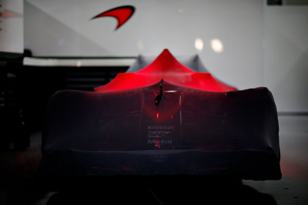 Suzuka Circuit, Suzuka, Japan.  Saturday 26 September 2015. A McLaren MP4-30 Honda under Parc Ferme conditions. World Copyright: Alastair Staley/LAT Photographic ref: Digital Image _R6T1742