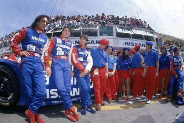 1990 Le Mans 24 Hours. Le Mans, France. 20th - 21st June 1990. Mark Blundell/Julian Bailey/Gianfranco Brancatelli (Nissan R90K) retired, portrait. World Copyright: LAT Photographic. Ref: 90LM10. ref: 35mm Colour Transparency.
