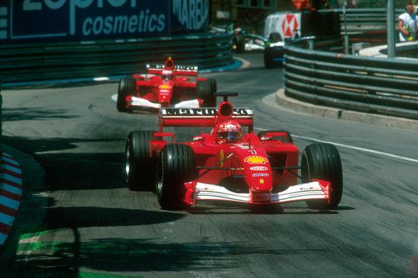 Monte Carlo, Monaco. 29th May 2001. Michael Schumacher, Ferrari F2001 leads team-mate Rubens Barrichello .World Copyright: Martyn Elford/LAT Photographic ref: 35mm Priority Image 01MON02