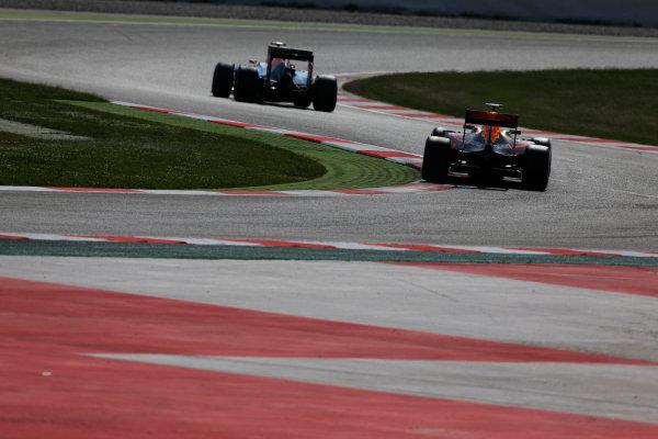 Circuit de Catalunya, Barcelona, Spain.  Wednesday 18 May 2016.  Max Verstappen, Red Bull Racing RB12 TAG Heuer follows Jordan King, Manor MRT 05 Mercedes.   World Copyright: Sam Bloxham/LAT Photographic ref: Digital Image _R6T1837