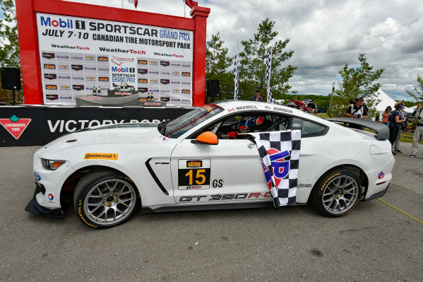 7-9 July 2016, Bowmanville, Ontario Canada 15, Ford, Shelby GT350R-C, GS, Scott Maxwell, Billy Johnson in victory lane with checkered flag. ?2016, Scott R LePage  LAT Photo USA