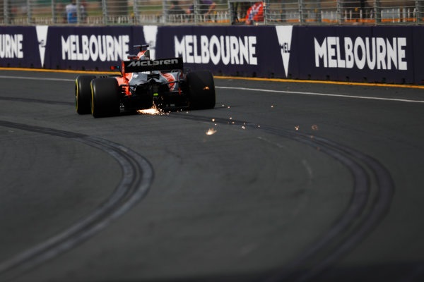 Albert Park, Melbourne, Australia. Friday 24 March 2017. Fernando Alonso, McLaren MCL32 Honda, strikes sparks. World Copyright: Sam Bloxham/LAT Images ref: Digital Image _W6I1286