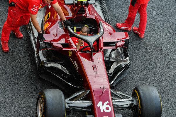 Ferrari mechanics push Charles Leclerc's Ferrari SF1000