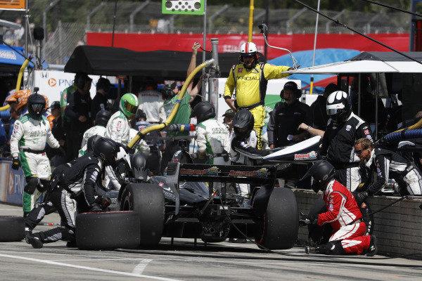 Spencer Pigot, Ed Carpenter Racing Chevrolet, pit stop