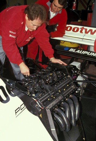 The Porsche engine in the back of one of the Footwork FA12s.