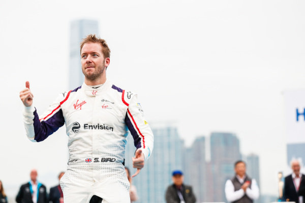 Race winner Sam Bird (GBR), Envision Virgin Racing approaches the podium