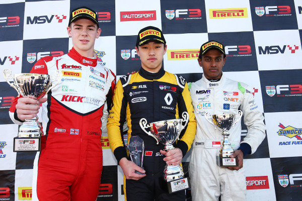 Race 2 Podium (l-r) Tom Gamble (GBR) Fortec Motorsports BRDC British F3, Sun Yue Yang (CHN) Carlin BRDC British F3, Pavan Ravishankar (IND) Double R BRDC British F3