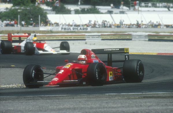 1990 French Grand Prix.Paul Ricard, Le Castellet, France.6-8 July 1990.Nigel Mansell (Ferrari 641) followed by Ayrton Senna (McLaren MP4/5B Honda). He exited the race with an engine failure and was classified in 18th position. Ref-90 FRA 17.World Copyright - LAT Photographic