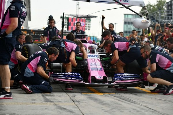 Racing Point pit stop practice on the Racing Point RP19