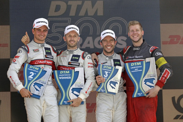 Podium: Race winner René Rast, Audi Sport Team Rosberg, second place Nico Müller, Audi Sport Team Abt Sportsline, third place Mike Rockenfeller, Audi Sport Team Phoenix.