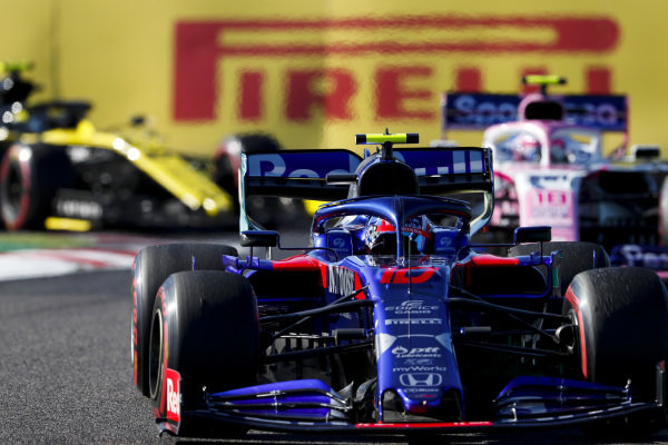 Pierre Gasly, Toro Rosso STR14, Lance Stroll, Racing Point RP19 and Nico Hulkenberg, Renault R.S. 19