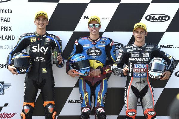 Polesitter Alex Marquez, Marc VDS Racing, second place Luca Marini, Sky Racing Team VR46, third placeMarcel Schrotter, Intact GP.