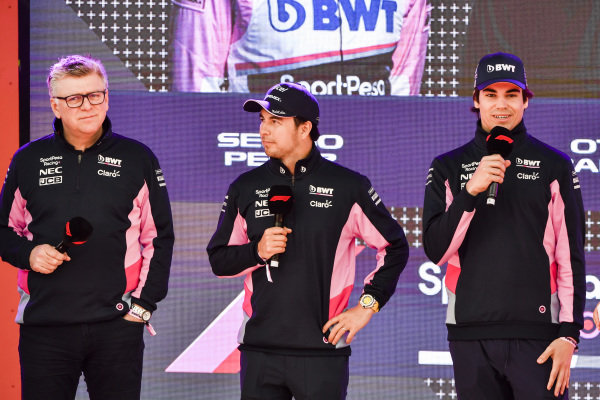 Otmar Szafnauer, Chief Operating Officer, Racing Point, Sergio Perez, Racing Point and Lance Stroll, Racing Point at the Federation Square event.
