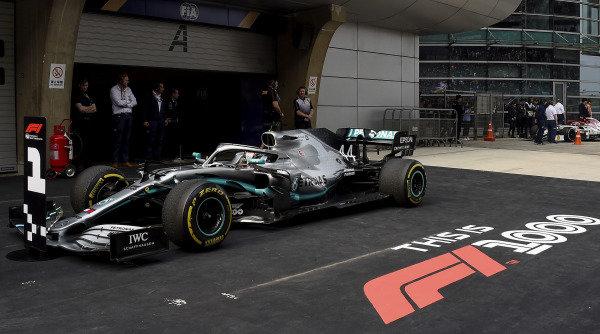 Lewis Hamilton, Mercedes AMG F1 W10, 1st position, parks in Parc Ferme