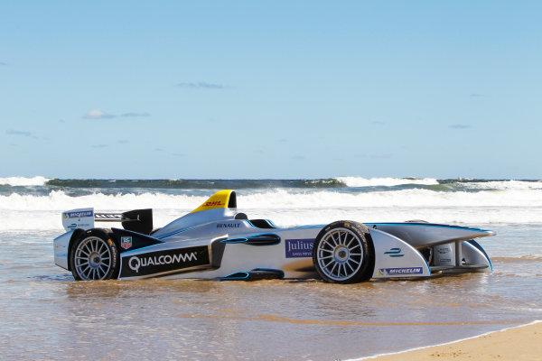 FIA Formula E Test Day. Formula E Car on the beach. Punta Del Este, Uruguay, South America. Formula E Third Race Event, 11th - 14th December 2014. Sunday 14 December 2014.  Photo: Adam Warner/LAT/FE ref: Digital Image _A8C1141