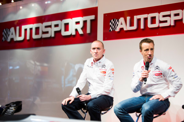 Autosport International Exhibition. National Exhibition Centre, Birmingham, UK. Friday 9 January 2015. Kris Meeke and Paul Nagle on the Autosport stage. World Copyright: Malcolm Griffiths/LAT Photographic. ref: Digital Image A50A0762